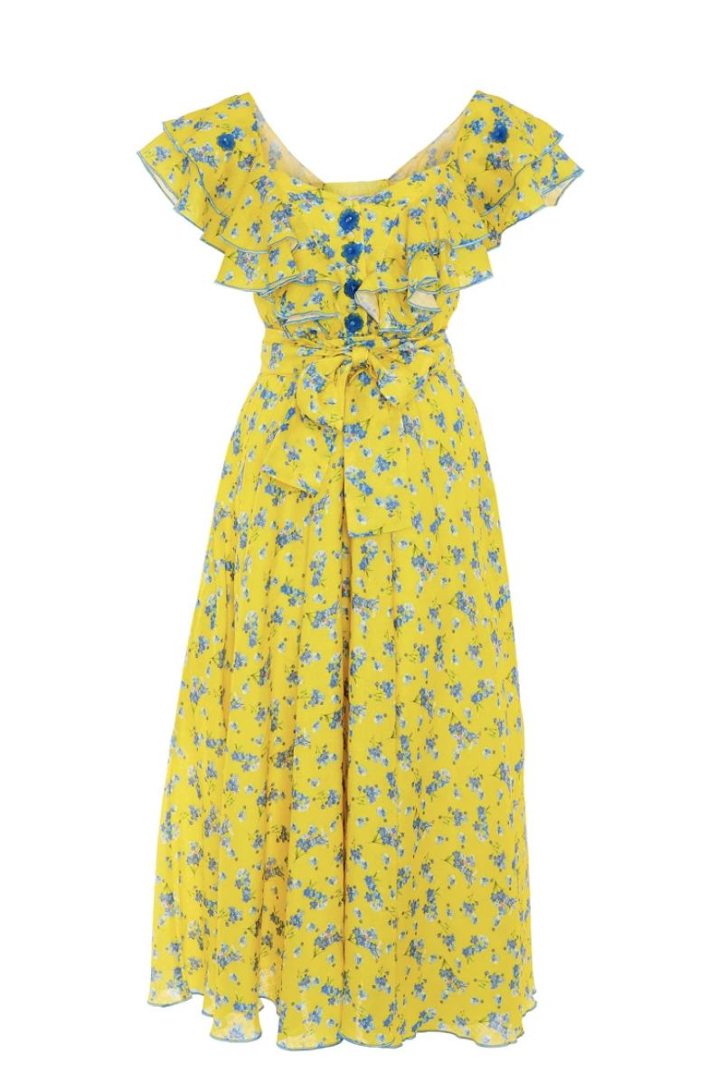 Gül Hürgel Floral-print linen midi dress Preview Images