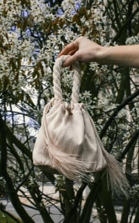 Isabelle Fox Greta silk and feather bag 3 Preview Images