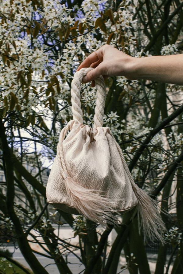 Isabelle Fox Greta silk and feather bag 3
