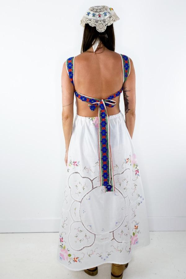 Image 6 of Magpie Vintage linen backless midi dress