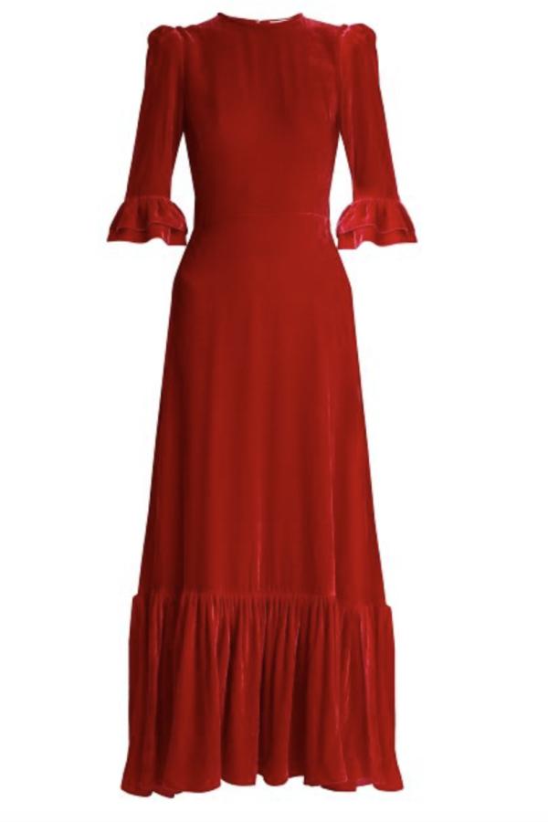 The Vampire's Wife Red velvet Maxi Dress