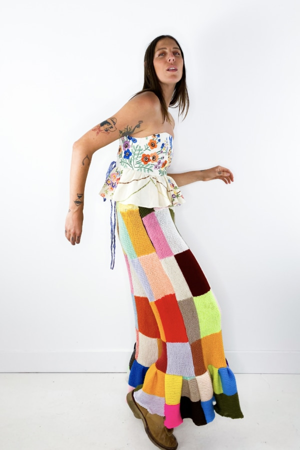 Image 4 of Magpie Vintage crochet patchwork trousers