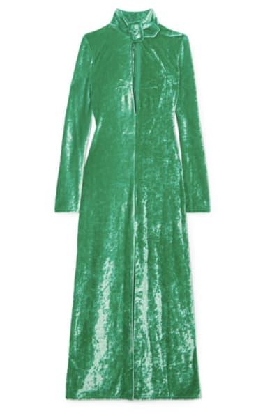 Attico Buckled cutout stretch-velvet dress