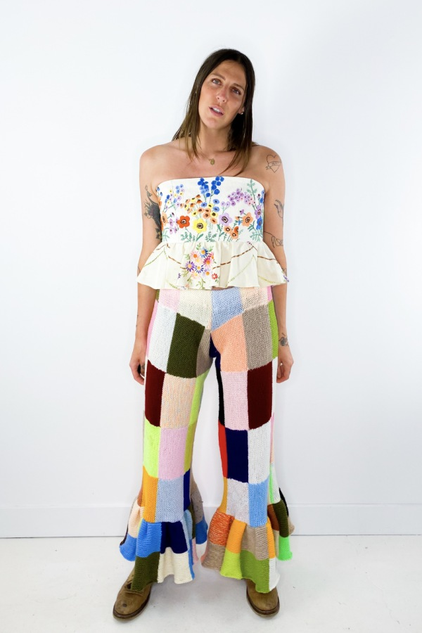 Image 2 of Magpie Vintage crochet patchwork trousers