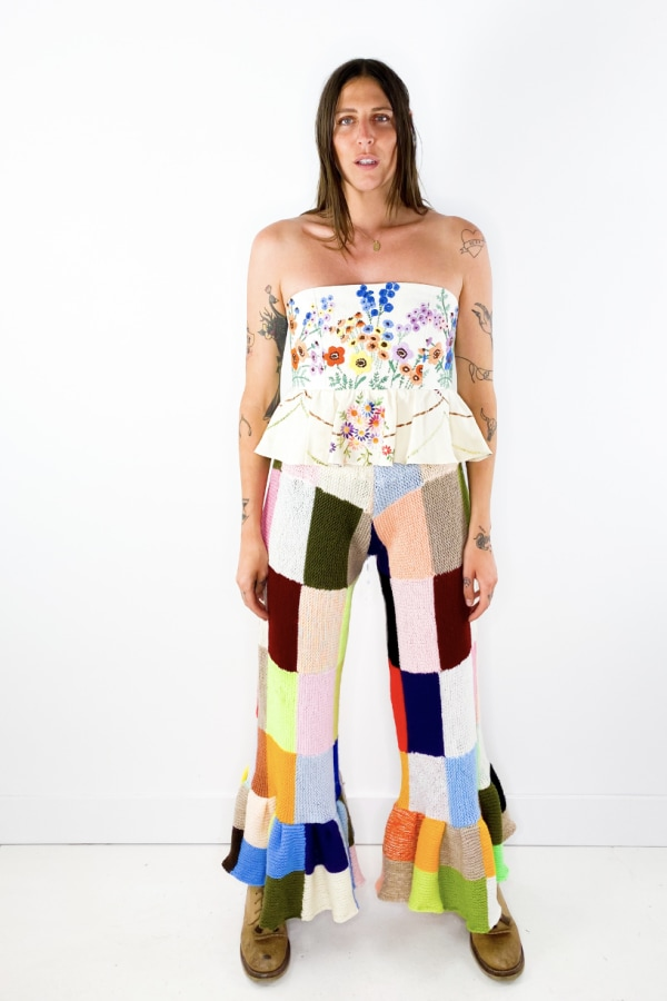Image 5 of Magpie Vintage crochet patchwork trousers