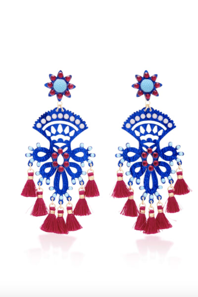 Mercedes Salazar Fiesta Blue And Red Earring