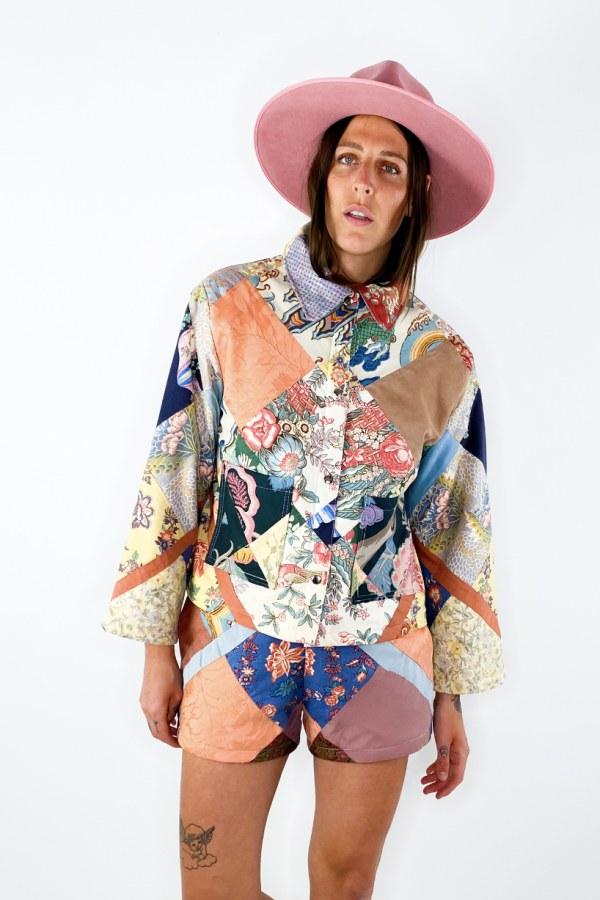Image 3 of Magpie Vintage 1950s patchwork jacket