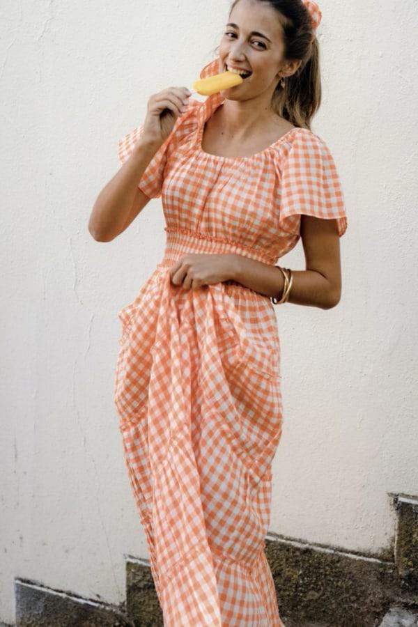 Image 2 of Pink City Prints gingham rah rah dress