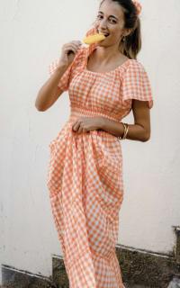 Pink City Prints Gingham Rah Rah Dress 2 Preview Images
