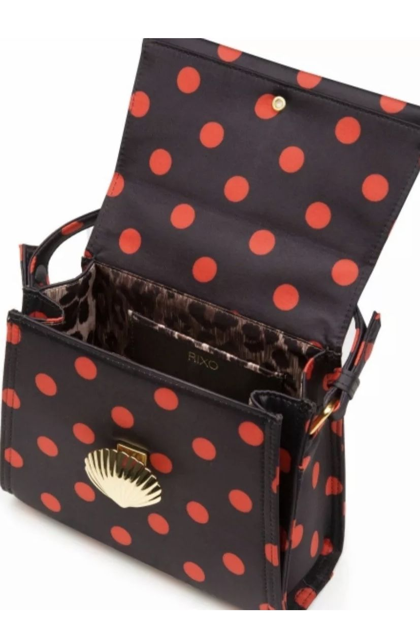 RIXO London Jemima Polka-Dot Satin Top Bag 2 Preview Images