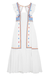 Temperley London Spellbound embroidered poplin and Swiss-dot cotton dress Preview Images