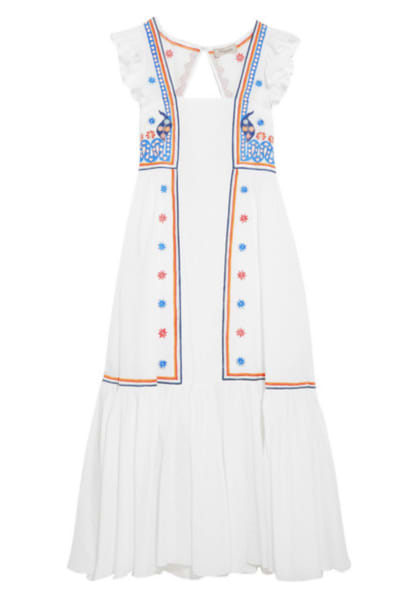 Temperley London Spellbound embroidered poplin and Swiss-dot cotton dress
