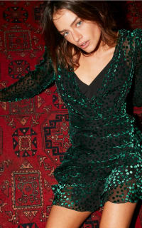 The Kooples Devore velvet green Polka dot 2 Preview Images