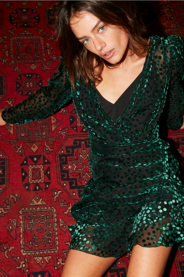 The Kooples Devore velvet green Polka dot 2