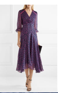 Saloni Edith polka-dot flocked silk-blend chiffon midi dress 4 Preview Images