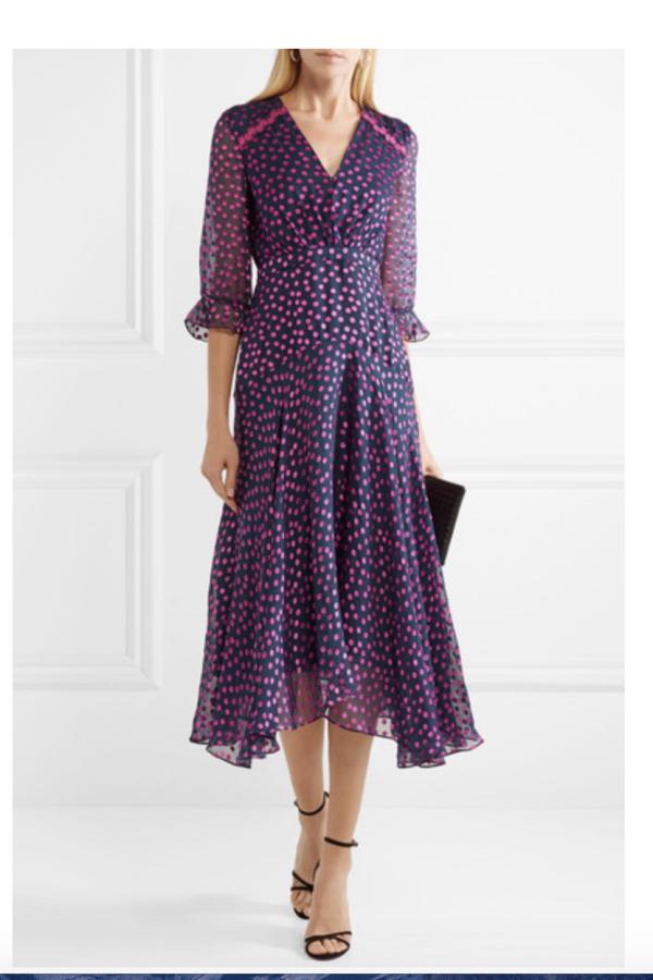 Saloni Edith polka-dot flocked silk-blend chiffon midi dress 4