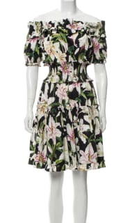 Dolce & Gabbana Off-the-shoulder ruffled floral-print cotton-poplin dress 3 Preview Images