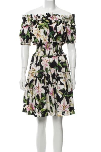 Dolce & Gabbana Off-the-shoulder ruffled floral-print cotton-poplin dress 3