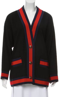 Gucci Grosgrain-trimmed cotton-blend tweed cardigan 4 Preview Images