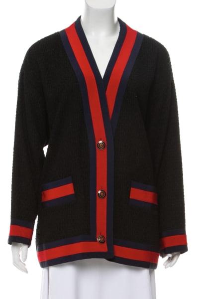 Gucci Grosgrain-trimmed cotton-blend tweed cardigan 4