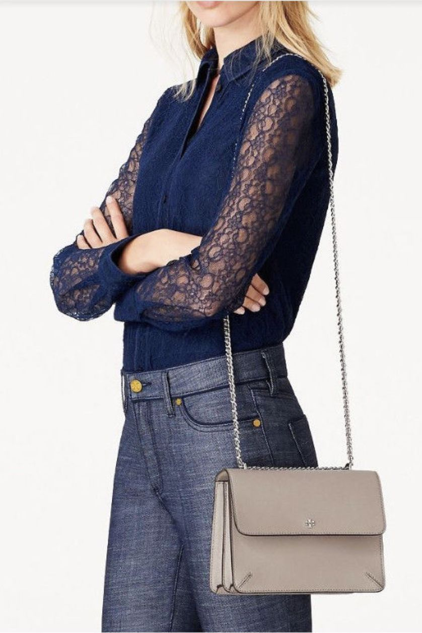 Tory Burch Robinson Convertible Leather Shoulder Bag 4 Preview Images
