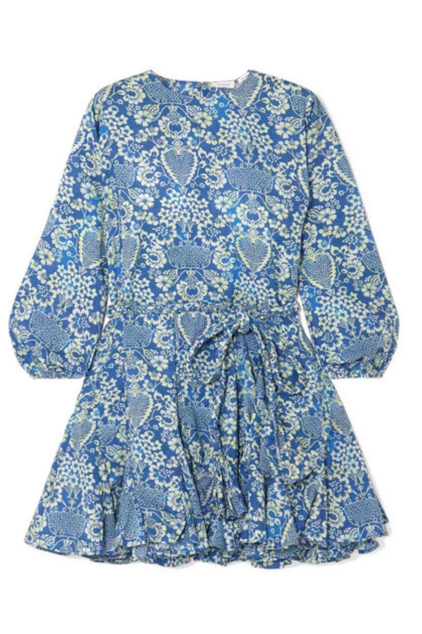 Rhode Resort Ella pleated floral-print cotton-poplin mini dress Preview Images