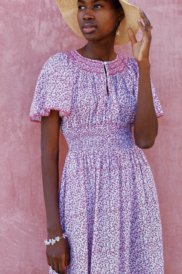 Pink City Prints Lavender Ditsy Tamsin Dress 2