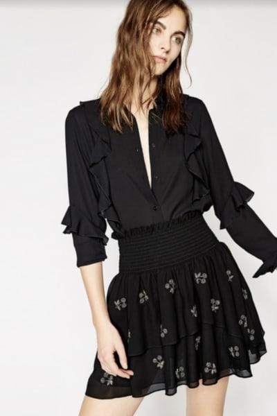 The Kooples Embroidered Black Skirt