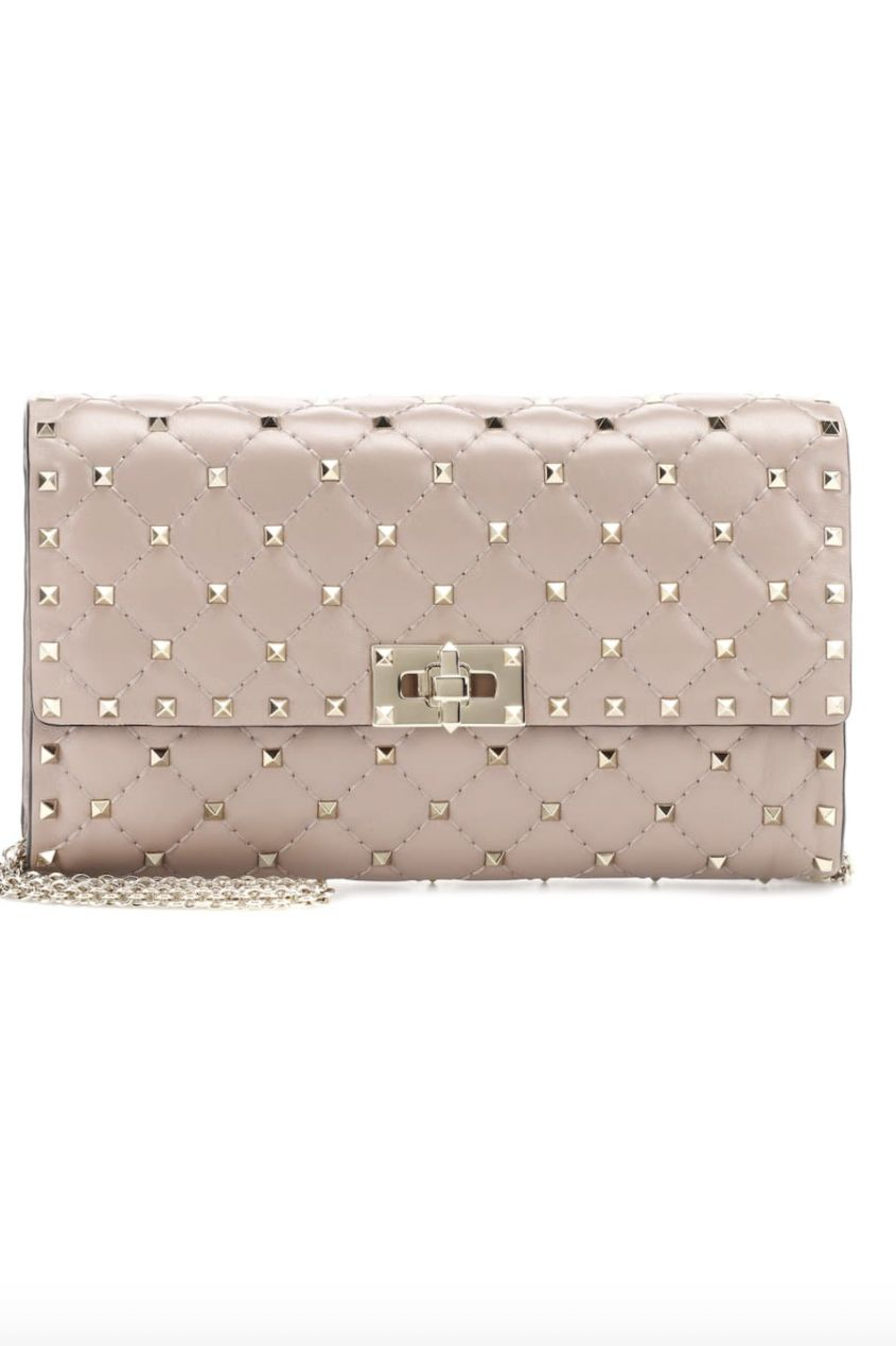 Valentino ROCKSTUD SPIKE CROSSBODY CLUTCH POUDRE Preview Images