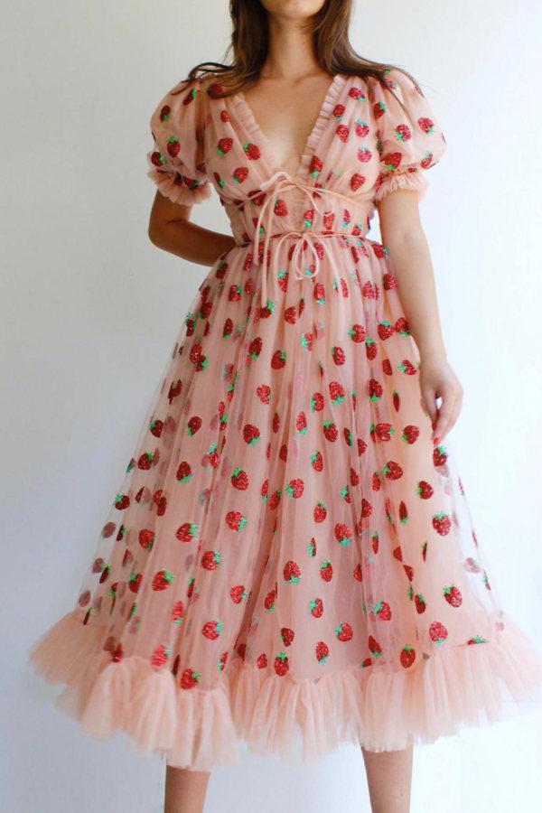 Image 4 of Lirika Matoshi strawberry midi dress