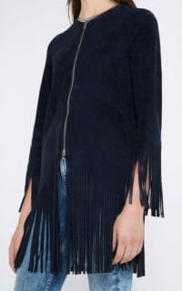 Sandro Suede fringed jacket, navy colour. 3 Preview Images