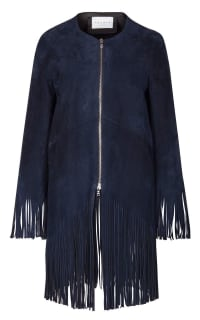Sandro Suede fringed jacket, navy colour. 2 Preview Images