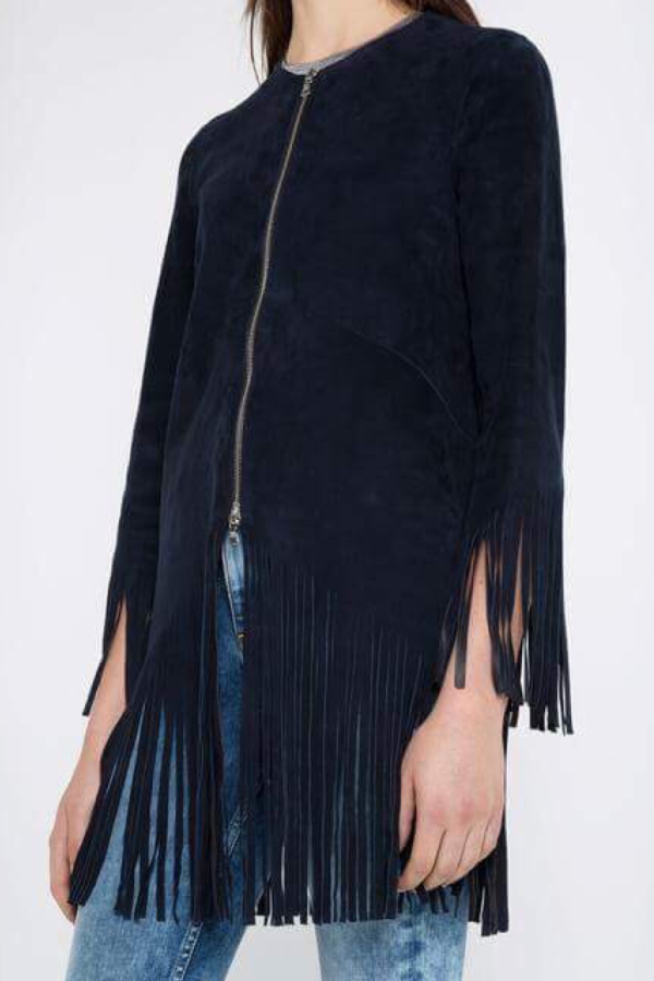 Sandro Suede fringed jacket, navy colour. 3