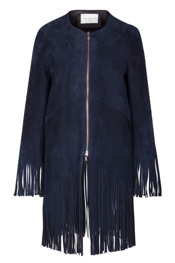 Sandro Suede fringed jacket, navy colour. 2