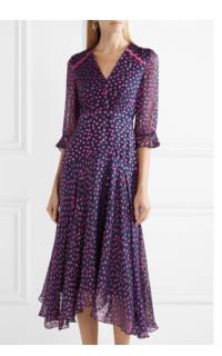 Saloni Edith polka-dot flocked silk-blend chiffon midi dress 2 Preview Images
