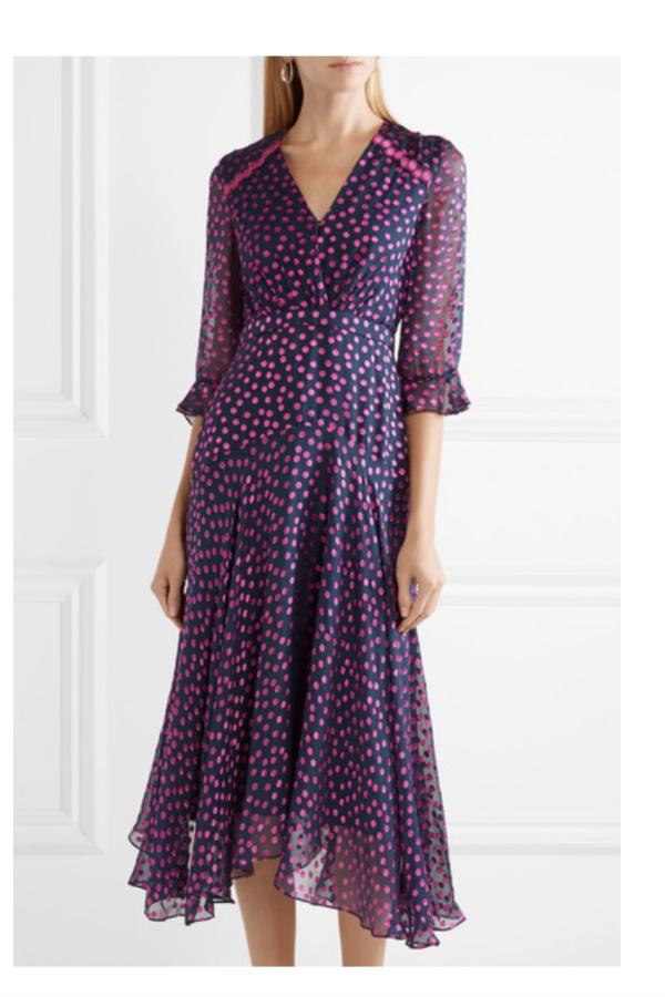 Saloni Edith polka-dot flocked silk-blend chiffon midi dress 2
