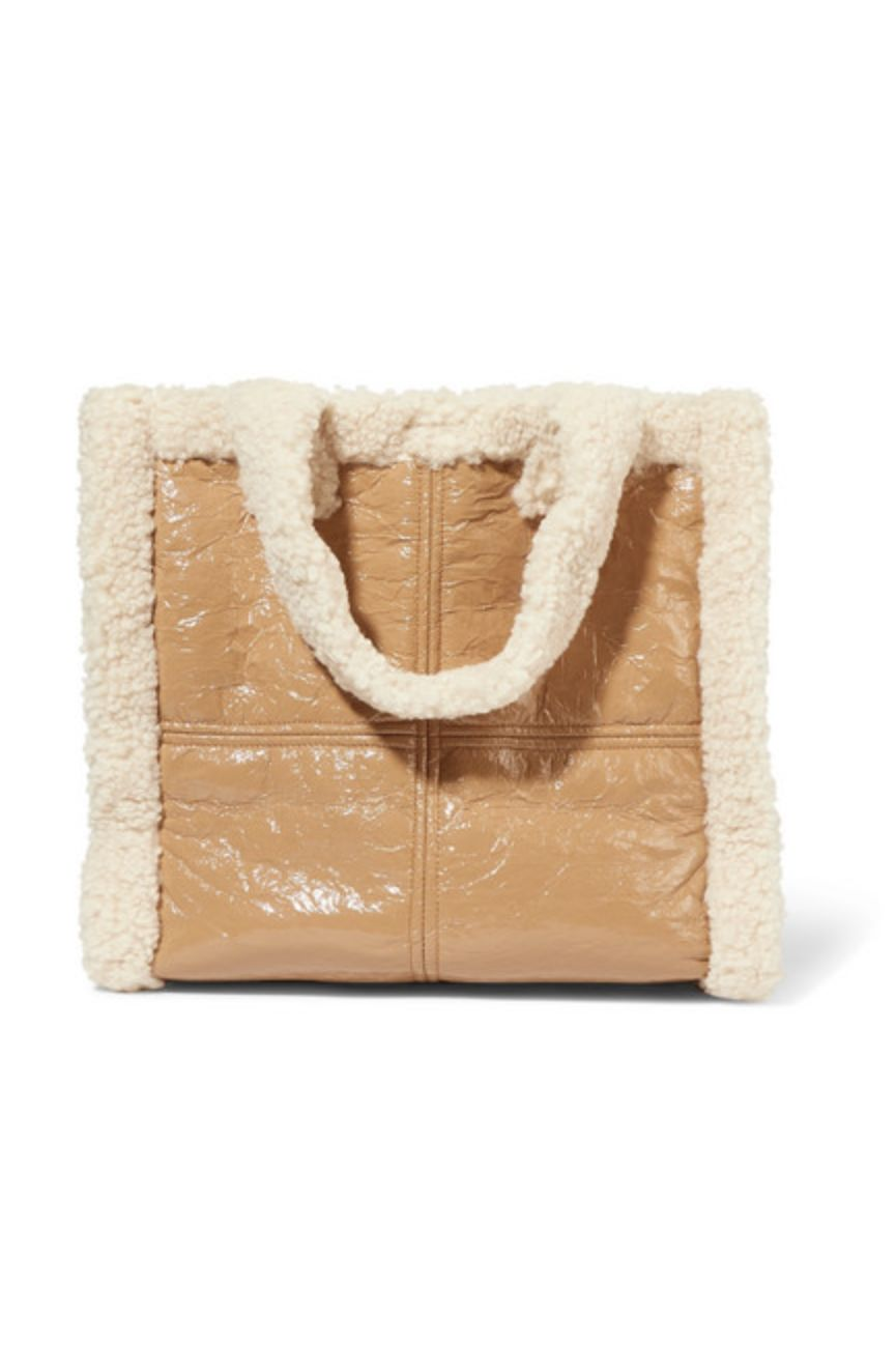 Stand Studio Lolita faux shearling-trimmed crinkled faux leather tote Preview Images