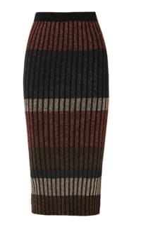 By Malene Birger Hollis striped metallic ribbed-knit midi skirt Preview Images