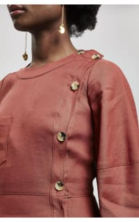 Rejina Pyo Button Detail Linen Midi-Dress 2 Preview Images