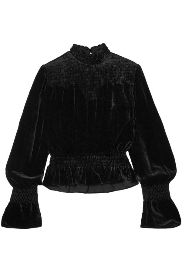 FRAME Shirred Velvet Turtleneck Top Black 4