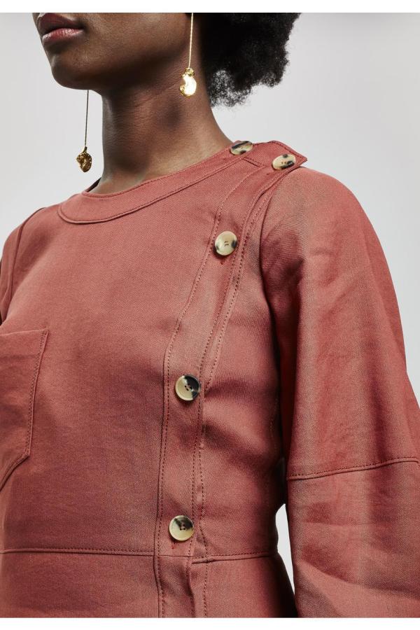 Rejina Pyo Button Detail Linen Midi-Dress 2