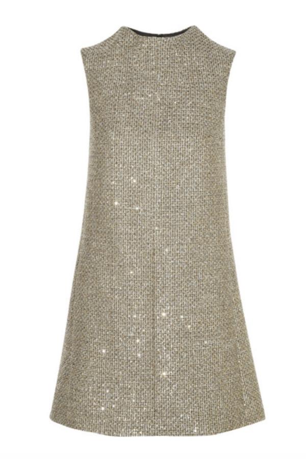 Saint Laurent Sequin metallic tweed dress