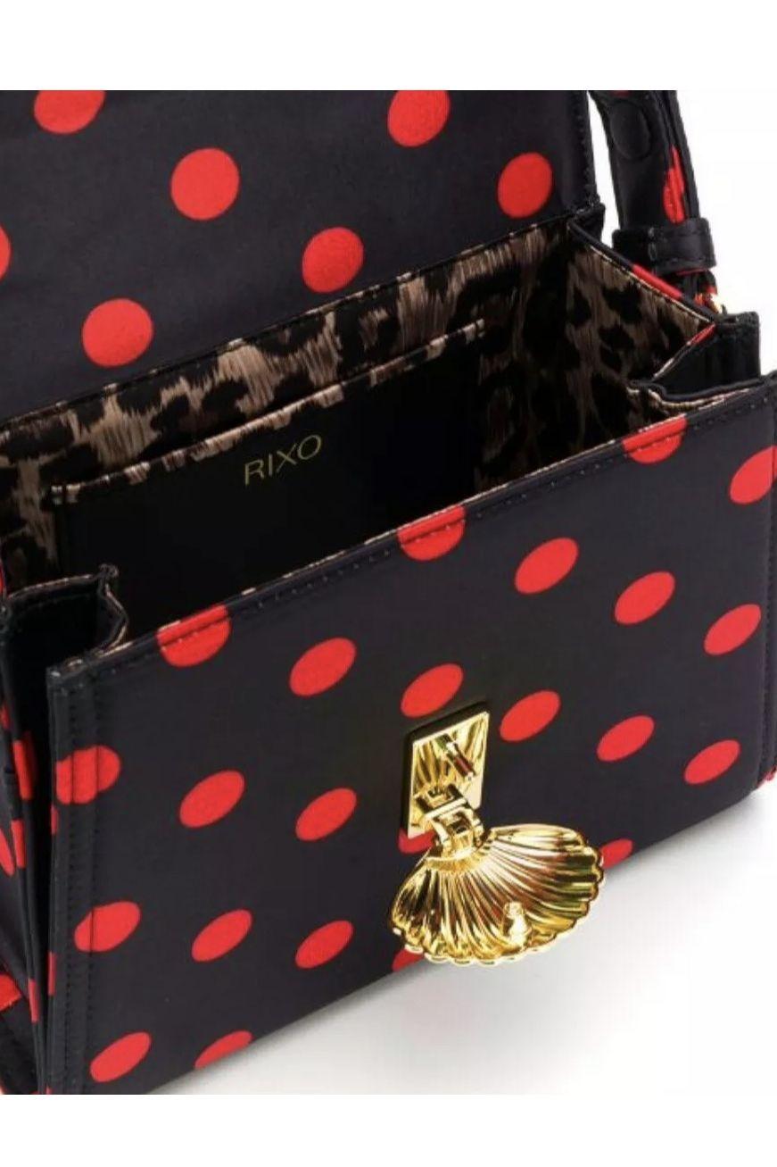 RIXO London Jemima Polka-Dot Satin Top Bag 3 Preview Images