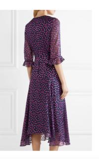 Saloni Edith polka-dot flocked silk-blend chiffon midi dress Preview Images