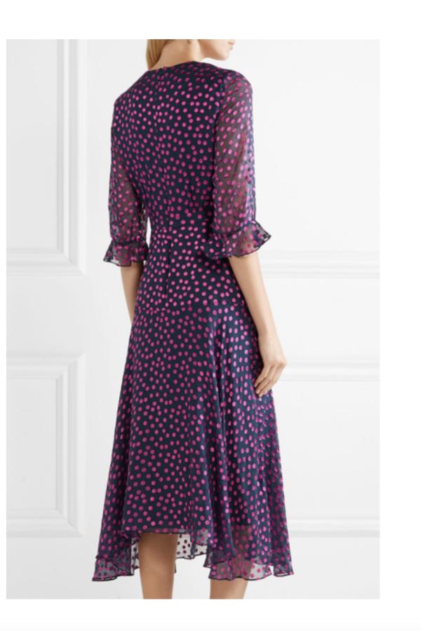 Saloni Edith polka-dot flocked silk-blend chiffon midi dress