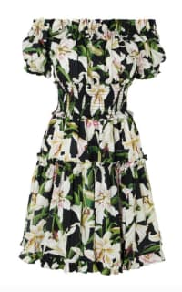 Dolce & Gabbana Off-the-shoulder ruffled floral-print cotton-poplin dress Preview Images