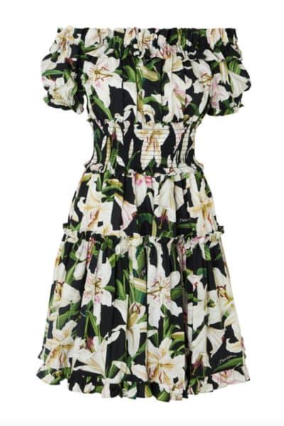 Dolce & Gabbana Off-the-shoulder ruffled floral-print cotton-poplin dress