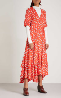 Ganni Floral-Print Crepe De Chine Wrap Maxi Dress in Red 2 Preview Images