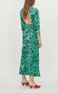 RIXO London Lucy Green Tiger Stripe Dress 3 Preview Images