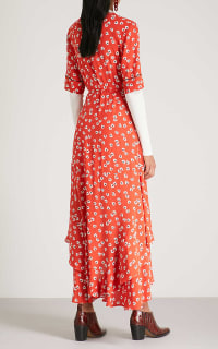 Ganni Floral-Print Crepe De Chine Wrap Maxi Dress in Red 4 Preview Images